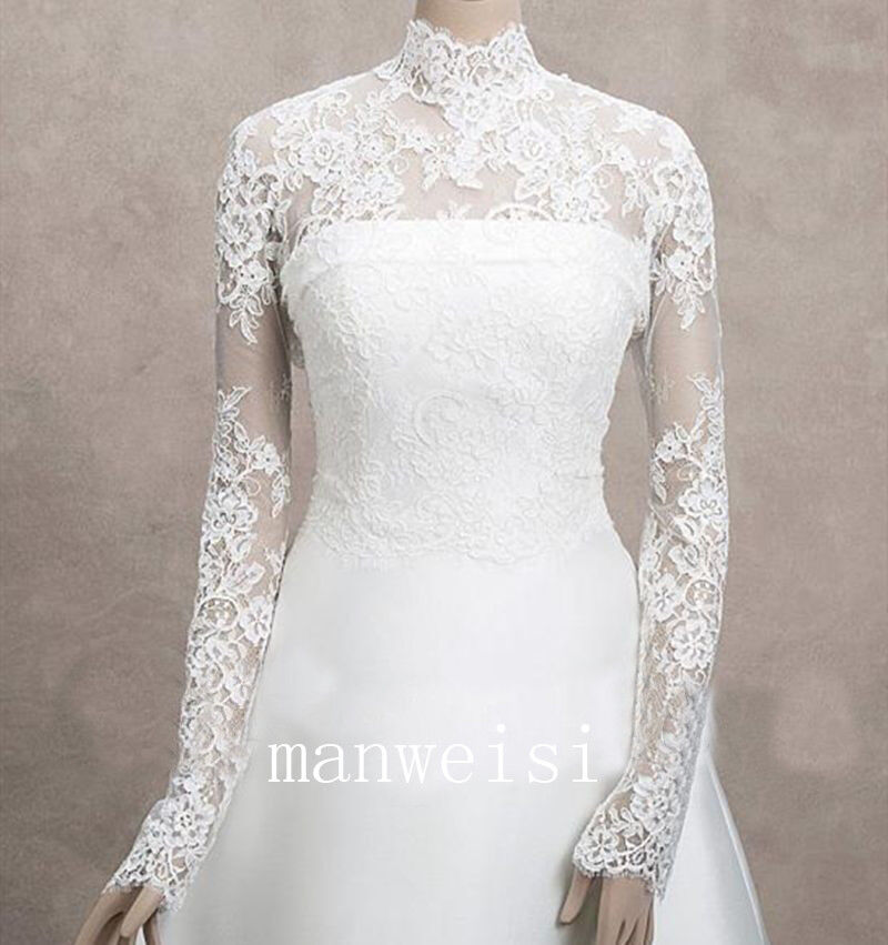681318b3dc3 Details about Wedding Jackets Fall Lace Long Sleeve High Collar Bridal  Boleros Wraps Shawl New