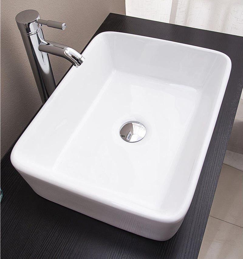 bathroom elegant unique black ceramic rectangular basin above counter sink bowl ebay. Black Bedroom Furniture Sets. Home Design Ideas
