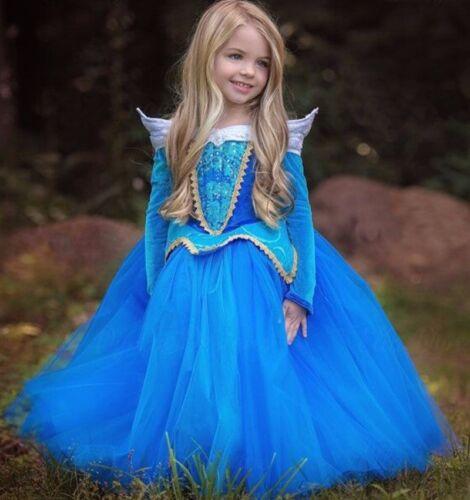 hot Kids Girl Sleeping Beauty Princess Aurora Fancy Dress Xmas Halloween Costume  sc 1 st  eBay & Kids Girl Sleeping Beauty Princess Aurora Fancy Dress Xmas Halloween ...