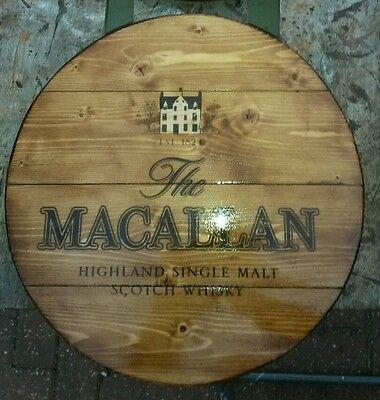 The macallan malt whisky plaque wooden sign  mancave shed bar pub