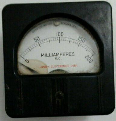 200 Ma Vintage Analog Panel Meter Weston Lamda 1301 3.125x3 200 Milliamp