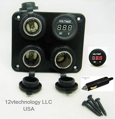 Triple Heavy Duty 20a 12v Plug High Power Voltmeter Socket Plug Outlet Panel Rv