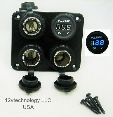 Three Heavy Duty 20a 12v Plug High Power Voltmeter Socket Plug Outlet Panel Rv