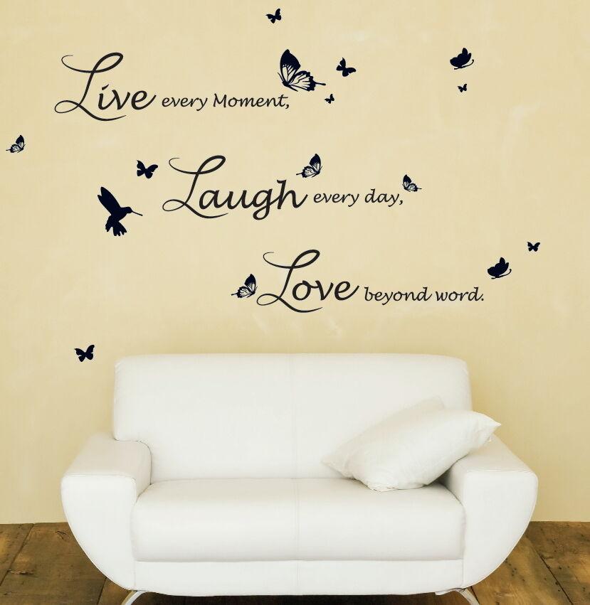 Lucida écriture Walplus New Énorme Papillon Vigne avec Live Laugh Love citation