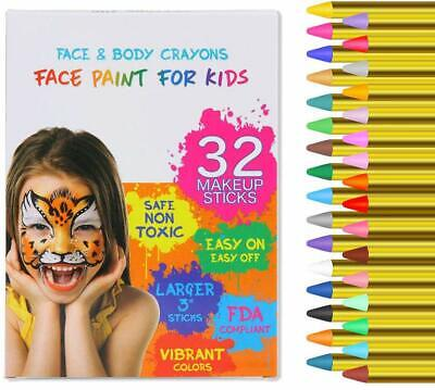 Good Face Paints For Halloween (32 Colors Safe Face & Body Paint Crayons Painting Kits Set For Kids Party)