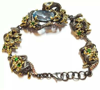 Nature snake flower Blue topaz garnet peridot 925 silver 7.5 inch bracelet