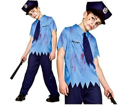 Child ZOMBIE COP Fancy Dress Boys US Policeman Uniform Costume Officer Age - Zombie Policeman Costume