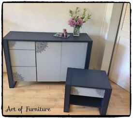 Modern Solid Chest/Sideboard Matching Bedside Table Hand Painted Blue Grey Mineral Paint Upcycled