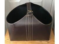 3 x Brown Faux leather storage racks
