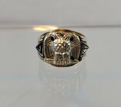 VINTAGE GOLD 10K 32ND DEGREE MASON DOUBLE EAGLE MASONIC RING JEWELRY