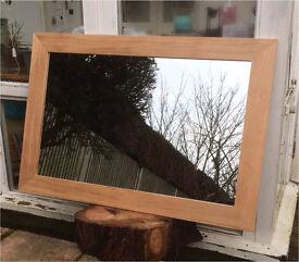 Very Large SOLID OAK Contemporary Mirror (110 x 74cm) Mantel