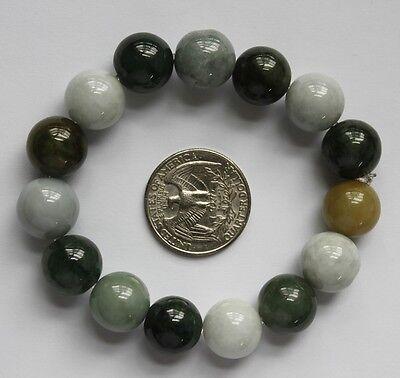 100% Natural (Grade A) Untreated Oily Green & Light Green JADE Beads Bracelet