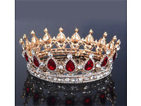 crown tiara rhinestone gold wedding bridal
