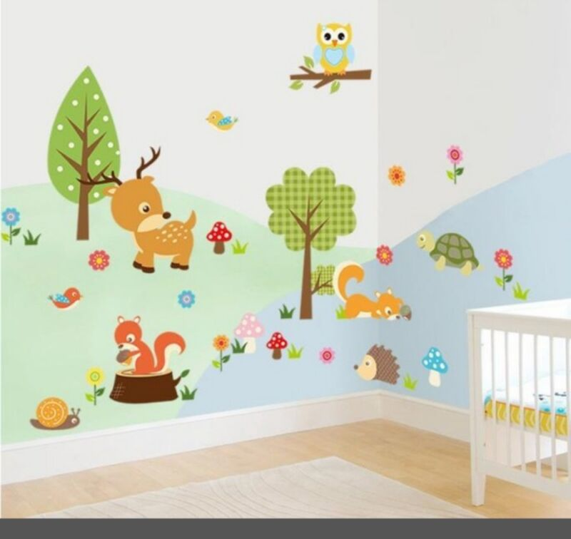 Forest animals baby nursery boy girl wall decal sticker