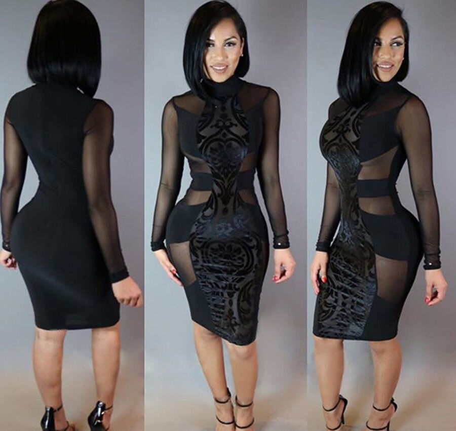 Dress - USA Summer Women Long Sleeve Bodycon Casual Party Evening Cocktail Short Dress