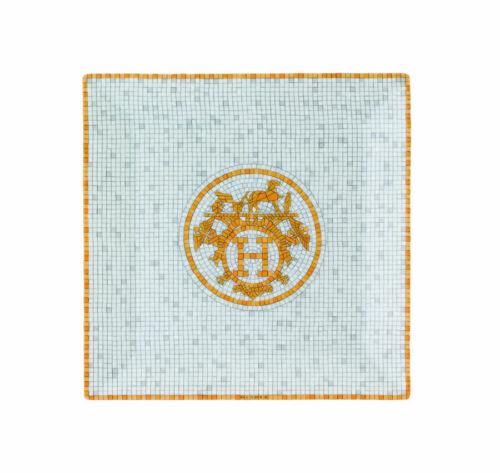 NEW HERMES MOSAIQUE AU 24 GOLD SQUARE NO. 3 PLATE #P026043P BRAND NIB SAVE$ F/SH