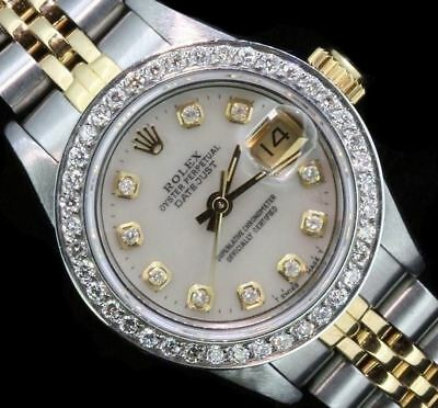 Rolex Ladies Datejust Oyster Stainless Gold Diamond Dial Bezel Watch