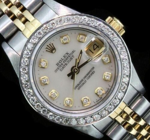 $3388.00 - Rolex Ladies Datejust Oyster Stainless Gold Diamond Dial Bezel Watch