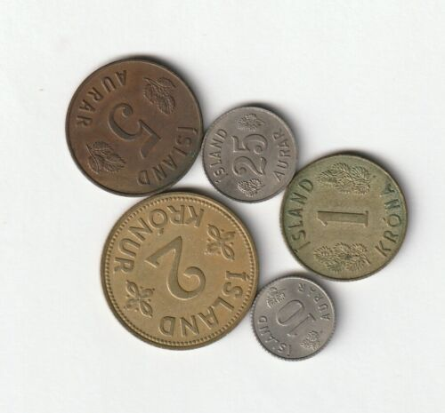 5 Iceland coins, 1940s - 1960s,... 3 largest coins are 1940-1946