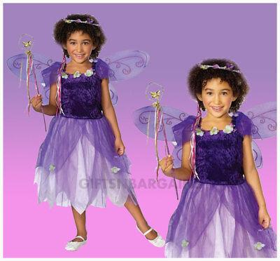 Plum Pixie Costume Purple Spring Fairy Wings Wand Tiara Child Dress Girls S / M (Spring Fairy Wings)