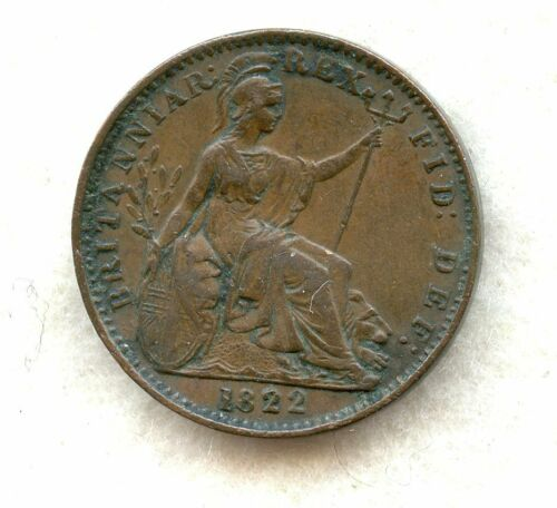 GREAT BRITAIN ~ 1822 ~ 1 FARTHING ~ XF