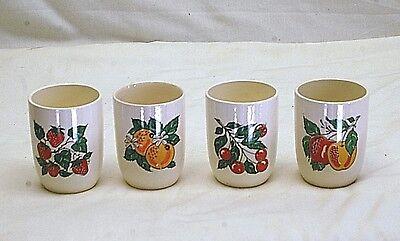 Old Vintage Swanky Swigs Set 4 Juice Glasses Strawberry Orange Cherry Apple MCM Apple Strawberry Juice