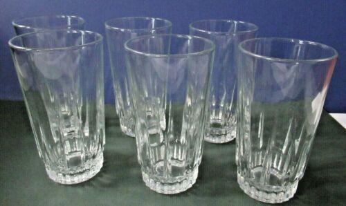 """Set of 6 Arcoroc vintage LANCER 12 Oz Tumblers clear glasses 5.25"""" h France"""