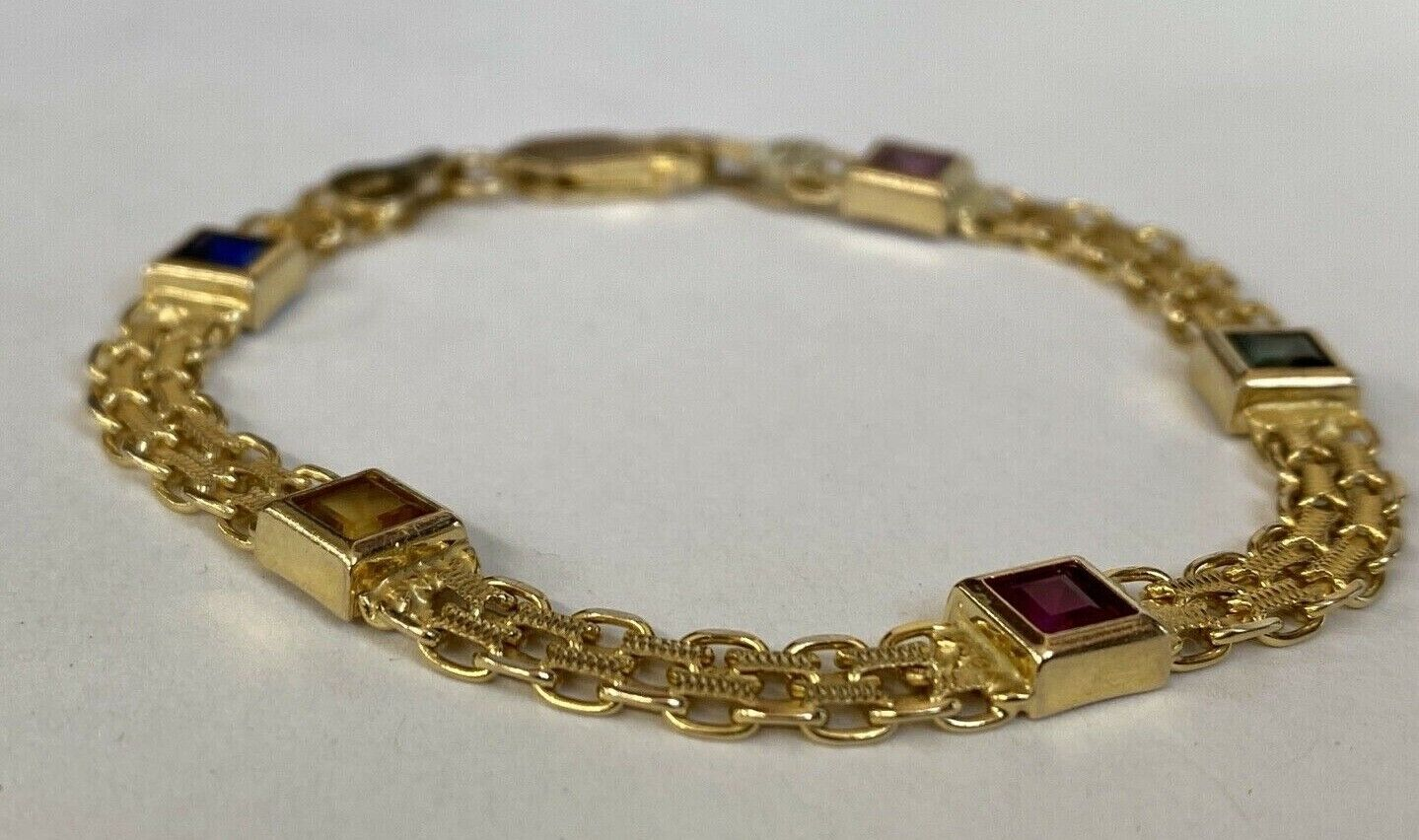 14k Yellow Gold w/ Colored Stones Women's Bracelet 6.3mm  7 1/4 Inches PRETTY!!! 2