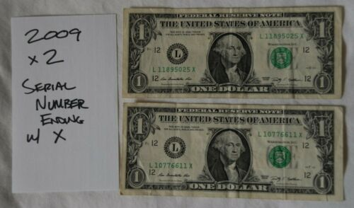 Lot of 2 2009 $1 Notes - serial Number ending in X