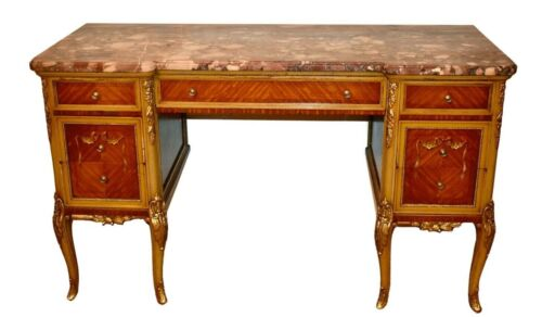 Antique French Style Carved & Painted Satinwood Marble Top Desk/Vanity