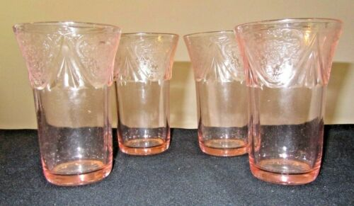 4 Vintage Royal Lace Pink Ice Tea Depression Glass 12 Oz Tumblers