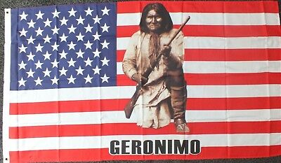 Geronimo Flag 5x3 American History USA Line Barn Dance Wild West Country Western