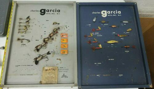 2 OLD Vintage Charles Abu Garcia Salesman Sample Lure Display RARE Fishing wood