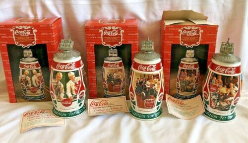 COCA COLA Historical Slogans by Anheuser Busch complete set of 3 steins  (M15)