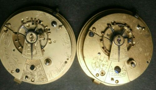 Antique English Key Wind Fusee Pocket Watch Movement LOT 18s Estate Parts Repair