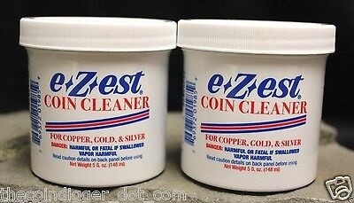 2 E-Z-EST Silver Gold Copper Coin Bullion Jewelry Cleaner 5oz Jar E-ZEST Clean