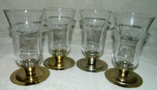 4 Home Interior Winter/Sleigh Tall Etched Clear Votive Cups