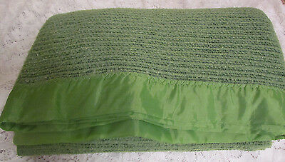 Vtg Retro 70s Green Blanket Waffle Thermal Satin Trim Acrylic Bedding Twin 68x80