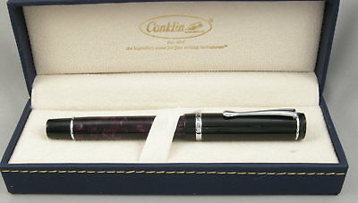 Conklin Duragraph Purple Nights Purple & Black Fountain Pen - Fine Nib - NEW!