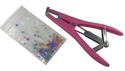 Pink Pewter Elastrator Castration Tail Docking Dogs Puppies 100 Small Bands