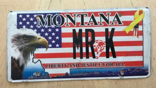 "MONTANA COLORFUL EAGLE USA FLAG GRAPHIC VANITY LICENSE PLATE "" MR K  "" KING"