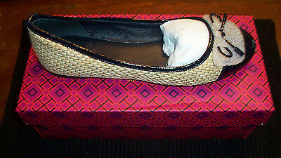 Tory Burch Catherine Ballet -Raffia Soft Patent Calf - size 8.5 New in Box !!