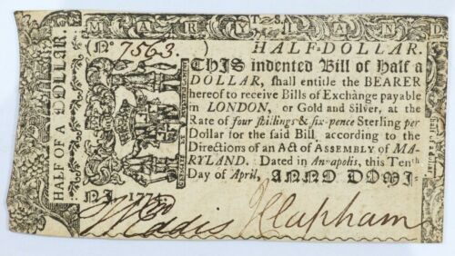 1774 Maryland Half a Dollar Colonial Note $1/2 - MD-64