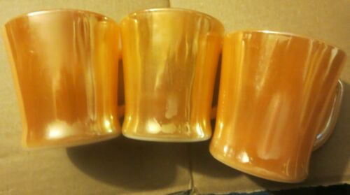 3 Vintage Fire King Iridescent Peach Luster Coffee Cups Mugs D Handle clean