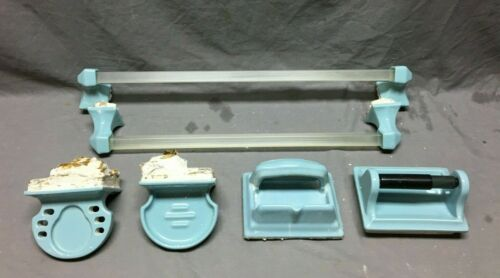 VTG Baby Blue Porcelain Complete Bathroom Set Tile In Mounts 10 Piece 1108-20B