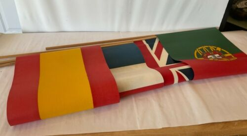 Vintage Flags 4 Countries Spain, England, France, Portugal Flags