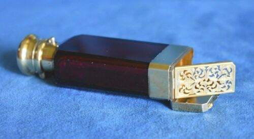 Antique SAMPSON MORDAN Red Glass Gilt Sterling Silver Perfume Bottle Vinaigrette