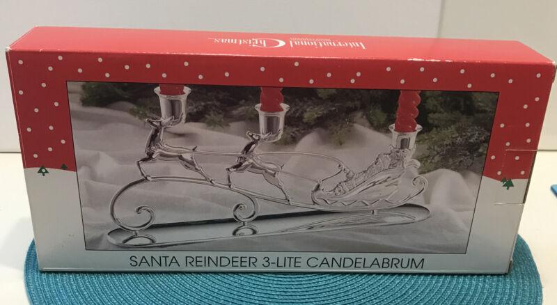International Silver CHRISTMAS Silverplated SANTA REINDEER 3-LITE CANDEL HOLDER