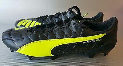 PUMA evoSPEED SL 2 Leather FG Men's Soccer/Futbol Cleats, size 10.5,Black/Yellow