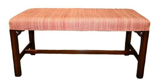 Vintage Kittinger Chippendale Style Mahogany Bench w/Stretcher Base